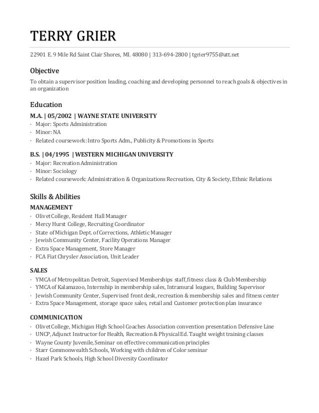 TERRY GRIER New Resume Jan 18 2017