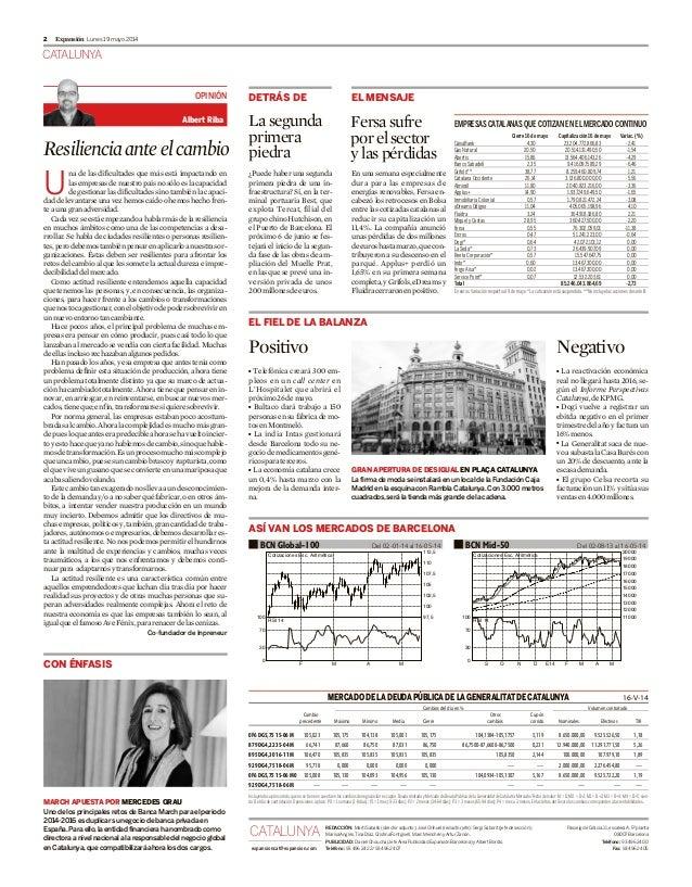 CATALUNYA Lunes 19 mayo 20142 Expansión Resilienciaanteelcambio U na de las dificultades que más está impactando en lasemp...