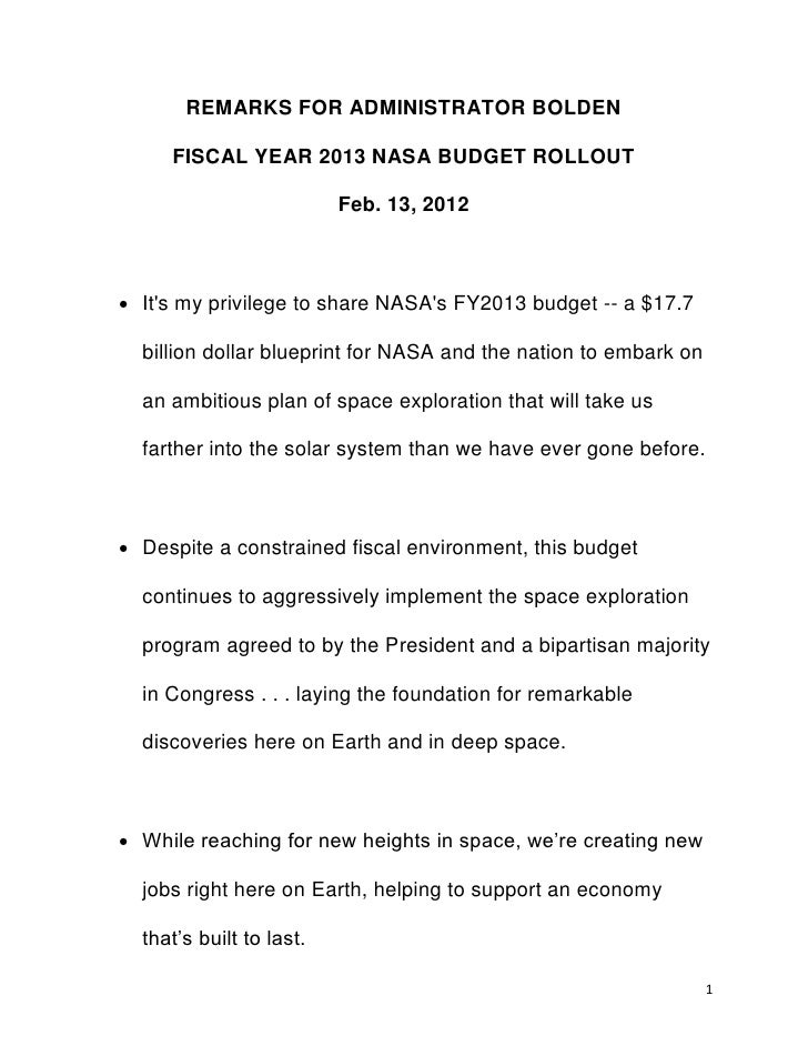 REMARKS FOR ADMINISTRATOR BOLDEN     FISCAL YEAR 2013 NASA BUDGET ROLLOUT                          Feb. 13, 2012 Its my p...