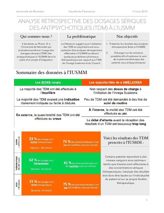Université de Montréal Faculté de Pharmacie 13 mai 2015 Sommaire des données à l'IUSMM! 1 ANALYSE RÉTROSPECTIVE DES DOSAGE...