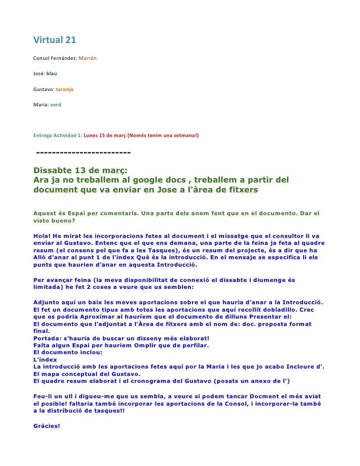 Virtual 21Consol Fernández: MarrónJosé: blauGustavo: taronjaMaria: verdEntrega Actividad 1: Lunes 15 de març (Només tenim ...
