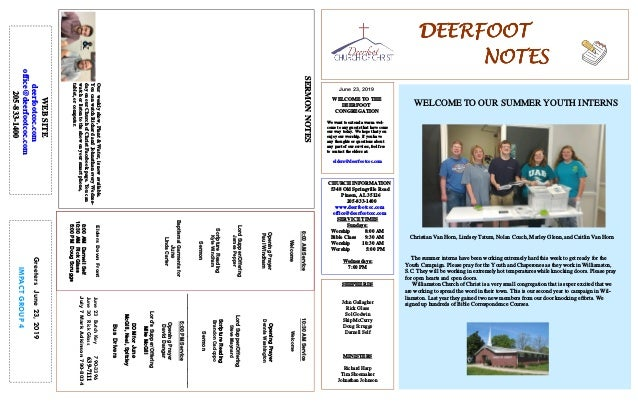 DEERFOOTDEERFOOTDEERFOOTDEERFOOT NOTESNOTESNOTESNOTES June 23, 2019 GreetersJune23,2019 IMPACTGROUP4 WELCOME TO THE DEERFO...