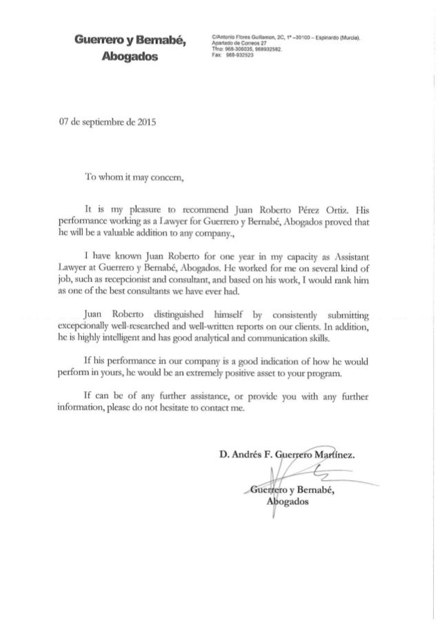 carta de recomendaci u00f3n  guerrero y bernab u00e9 abogados
