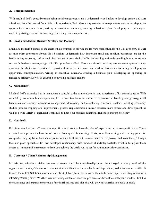 eo1 solutions executive summary