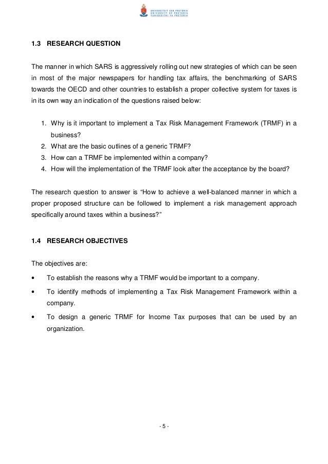 2012 Tax Risk Management A Framework For Implementation Dissertat