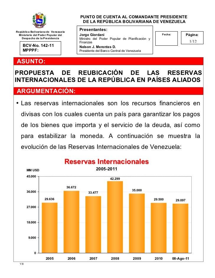 PUNTO DE CUENTA AL COMANDANTE PRESIDENTE                                               DE LA REPÚBLICA BOLIVARIANA DE VENE...