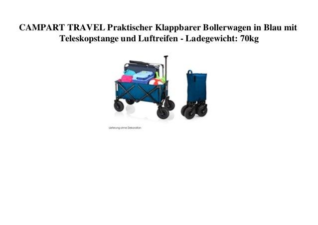 CAMPART TRAVEL Praktischer Klappbarer Bollerwagen in Blau mit Teleskopstange und Luftreifen - Ladegewicht: 70kg