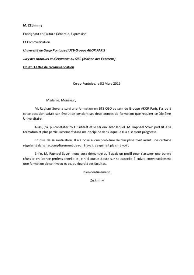 lettre de recommandation J. Zé