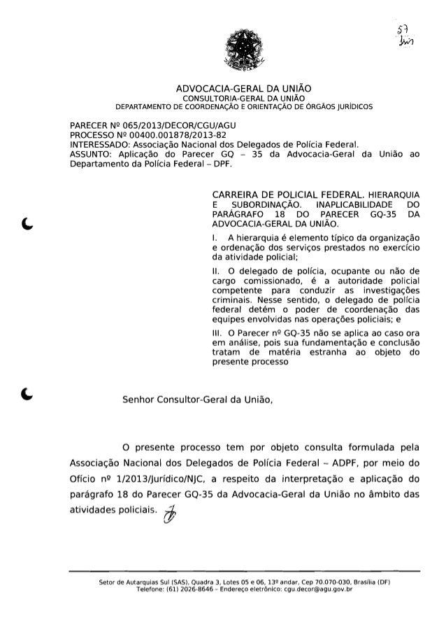 ADVOCACIA-GERAL DA UNIÃO  CONSULTORIA-GERAL DA UNIÃO  DEPARTAMENTO DE COORDENAÇÃO E ORIENTAÇÃO DE ÓRGÃOS JURíDICOS   PAREC...