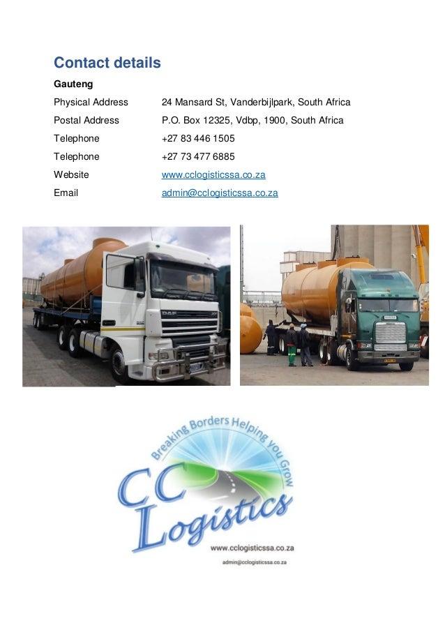 Contact details Gauteng Physical Address 24 Mansard St, Vanderbijlpark, South Africa Postal Address P.O. Box 12325, Vdbp, ...