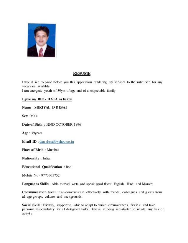 RESUME I would like to place before you this application rendering my services to the institution for any vacancies availa...