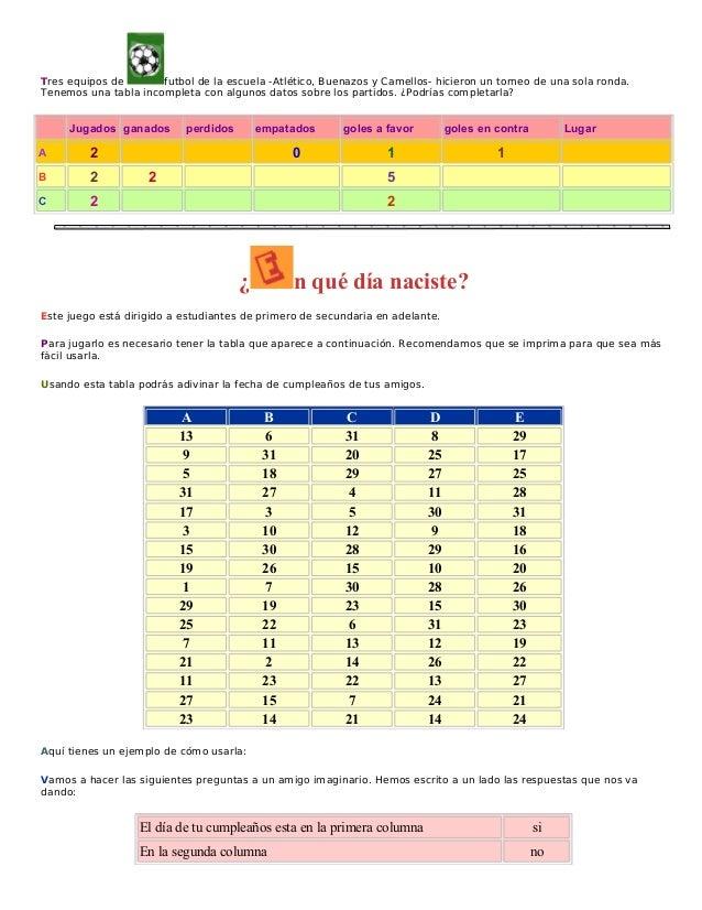 Juegos De Matematicas Secundaria