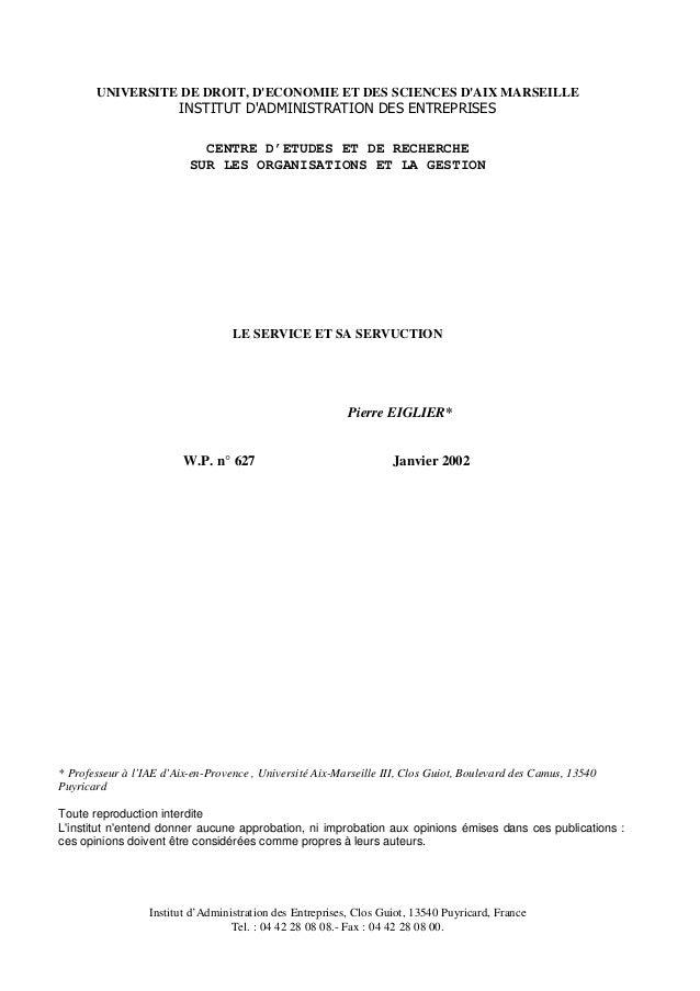 UNIVERSITE DE DROIT, DECONOMIE ET DES SCIENCES DAIX MARSEILLE                        INSTITUT DADMINISTRATION DES ENTREPRI...