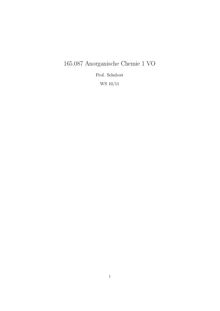 165.087 Anorganische Chemie 1 VO           Prof. Schubert             WS 10/11                 1