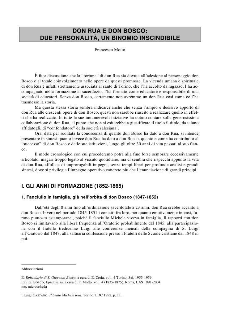 DON RUA E DON BOSCO:              DUE PERSONALITÀ, UN BINOMIO INSCINDIBILE                                                ...