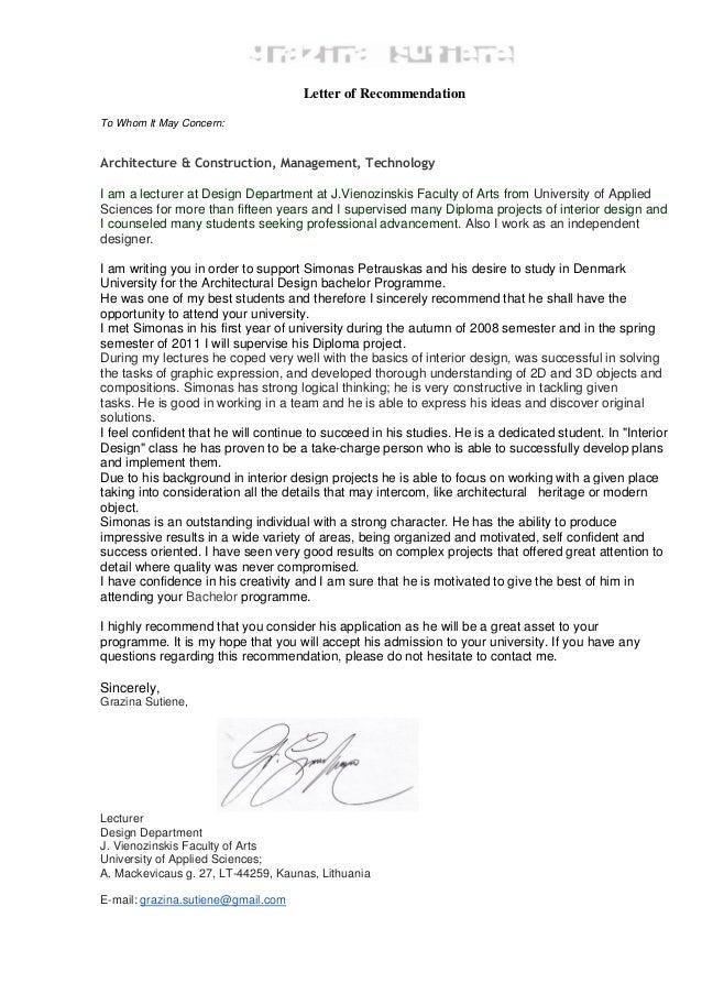 Letter of recommendation simonas petrauskas en letter of recommendation to whom it may concern architecture construction management technology expocarfo Choice Image