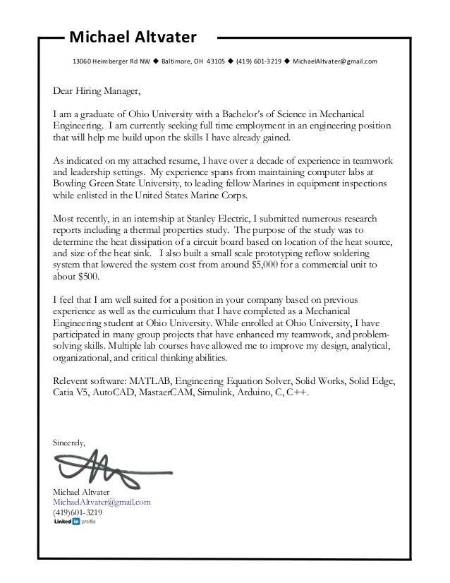 Michael Altvater Cover Letter