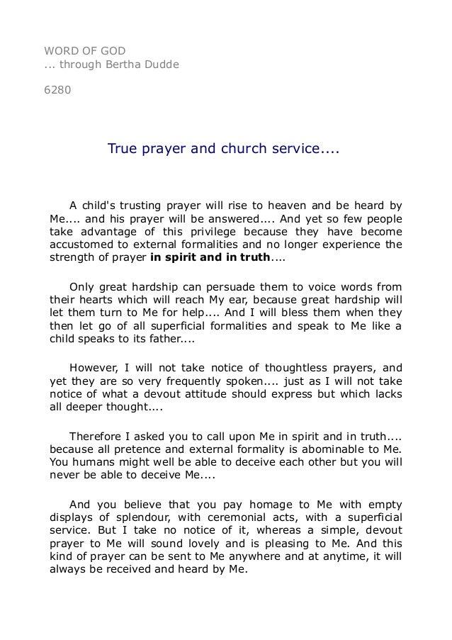 6280 True prayer and church service
