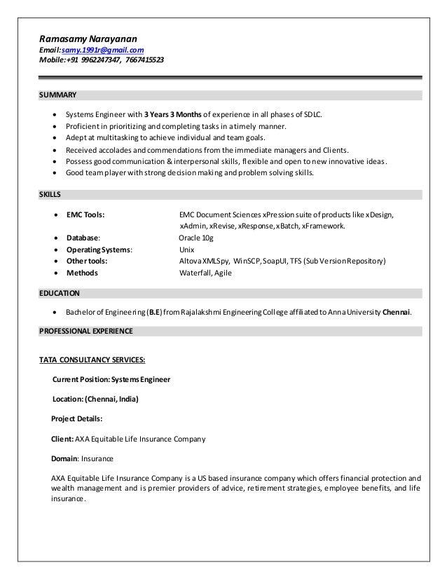 ramasamynarayanan resume