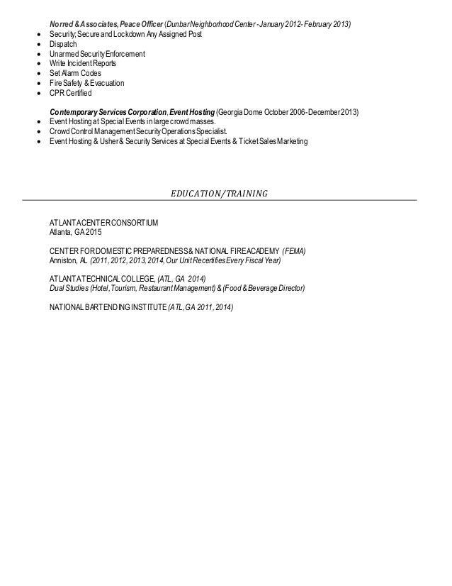 resume event staff warehouse robert v ferguson