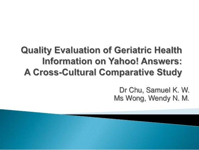 Dr Chu, Samuel K. W.Ms Wong, Wendy N. M.