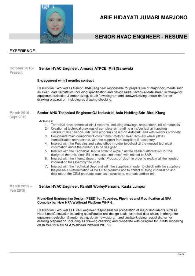 resume arie hidayati snr hvac engineer