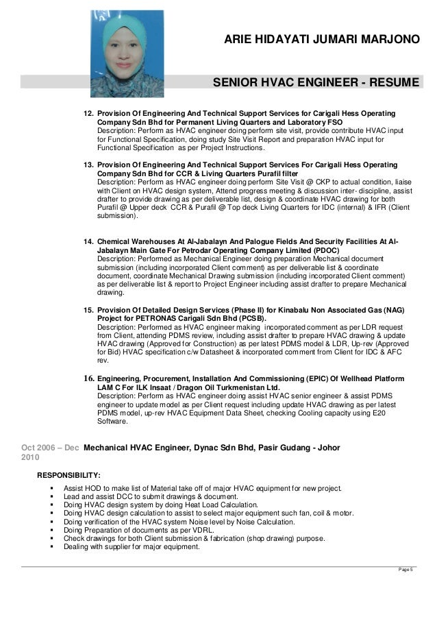 Hvac Engineer Resume Fiveoutsiderscom