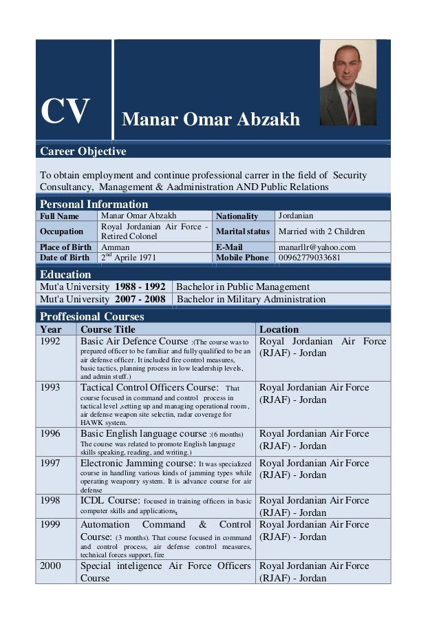 CV Manar Omar Abzakh Career Objective To obtain employment and continue professional carrer in the field of Security Consu...