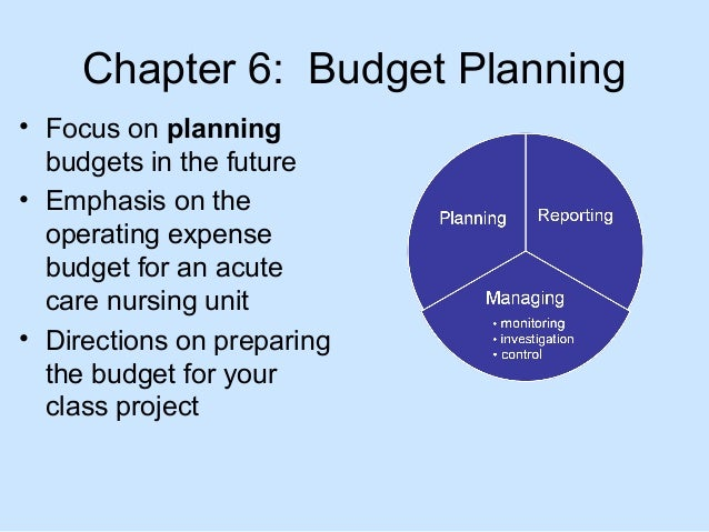 Chapter 6: Budget Planning • Focus on planning budgets in the future • Emphasis on the operating expense budget for an acu...