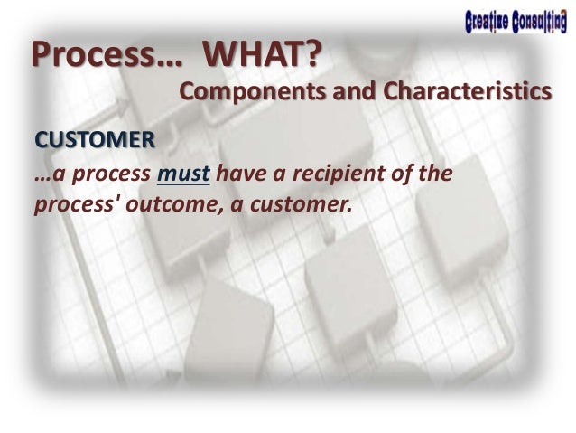 CUSTOMER Process… WHAT? Components and Characteristics …a process must have a recipient of the process' outcome, a custome...