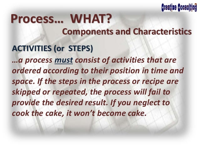 ACTIVITIES (or STEPS) Process… WHAT? Components and Characteristics …a process must consist of activities that are ordered...