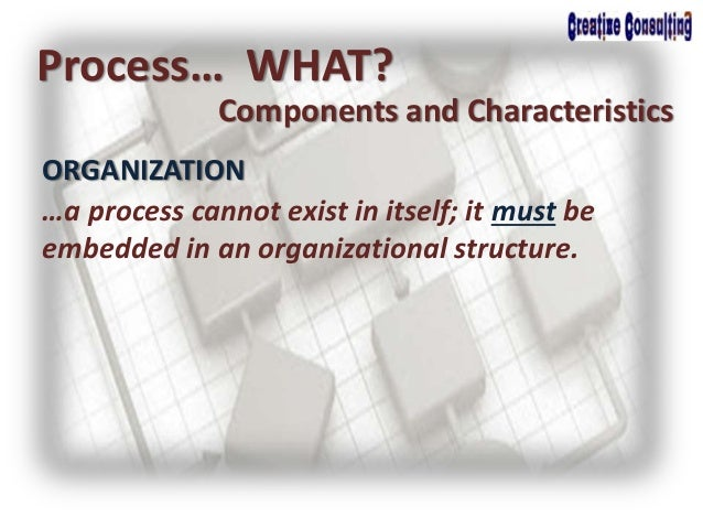 ORGANIZATION Process… WHAT? Components and Characteristics …a process cannot exist in itself; it must be embedded in an or...