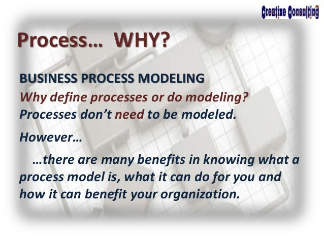 BUSINESS PROCESS MODELING Process… WHY? Why define processes or do modeling? Processes don't need to be modeled. However… ...