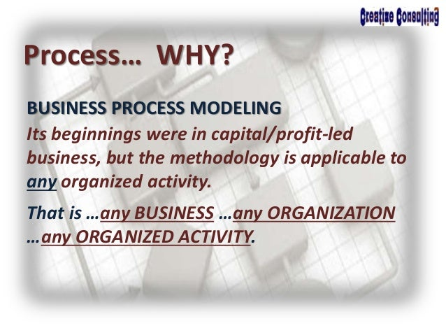 BUSINESS PROCESS MODELING Process… WHY? Its beginnings were in capital/profit-led business, but the methodology is applica...