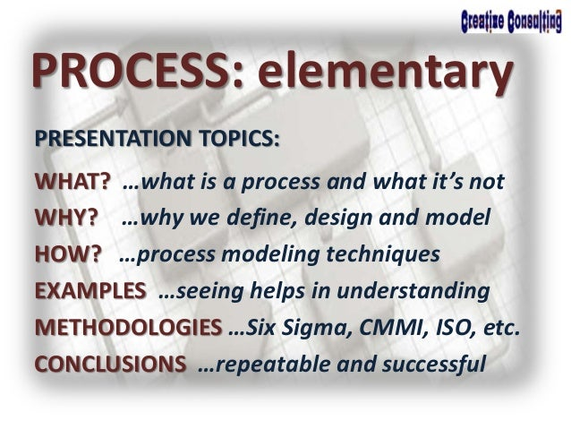 WHAT? …what is a process and what it's not WHY? …why we define, design and model HOW? …process modeling techniques EXAMPLE...