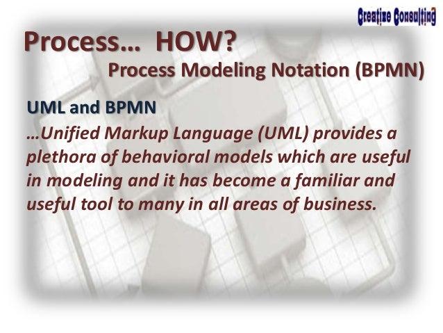 UML and BPMN Process… HOW? Process Modeling Notation (BPMN) …Unified Markup Language (UML) provides a plethora of behavior...