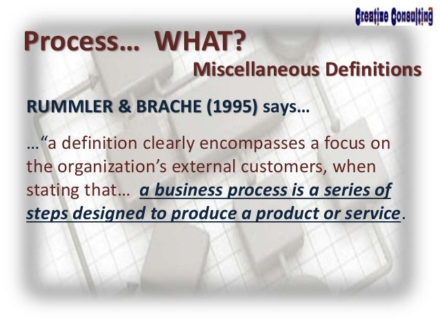 """RUMMLER & BRACHE (1995) says… Process… WHAT? Miscellaneous Definitions …""""a definition clearly encompasses a focus on the o..."""