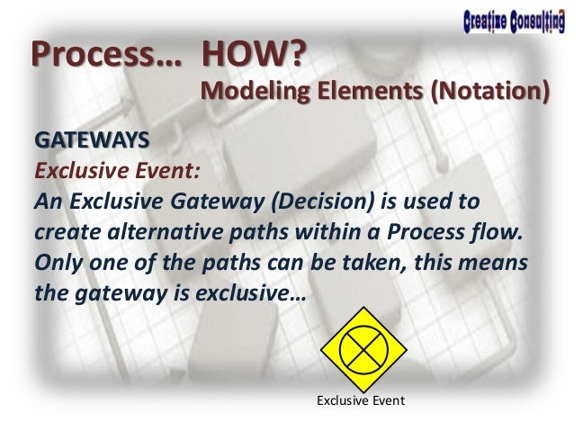 Process… HOW? Modeling Elements (Notation) GATEWAYS Exclusive Event: An Exclusive Gateway (Decision) is used to create alt...