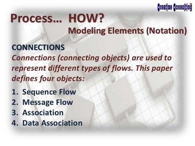 Process… HOW? Modeling Elements (Notation) CONNECTIONS Connections (connecting objects) are used to represent different ty...