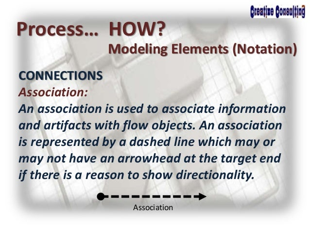 Process… HOW? Modeling Elements (Notation) CONNECTIONS Association: An association is used to associate information and ar...