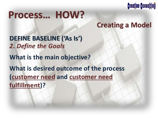 Process… HOW? Creating a Model 2. Define the Goals What is the main objective? What is desired outcome of the process (cus...