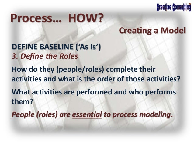Process… HOW? Creating a Model 3. Define the Roles How do they (people/roles) complete their activities and what is the or...
