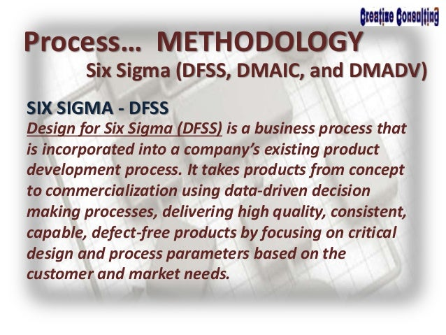 Process… METHODOLOGY Six Sigma (DFSS, DMAIC, and DMADV) SIX SIGMA - DFSS Design for Six Sigma (DFSS) is a business process...