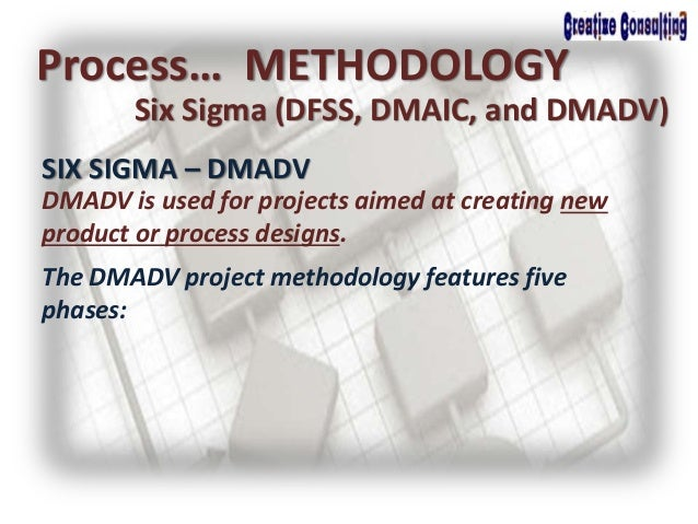 Process… METHODOLOGY Six Sigma (DFSS, DMAIC, and DMADV) SIX SIGMA – DMADV DMADV is used for projects aimed at creating new...