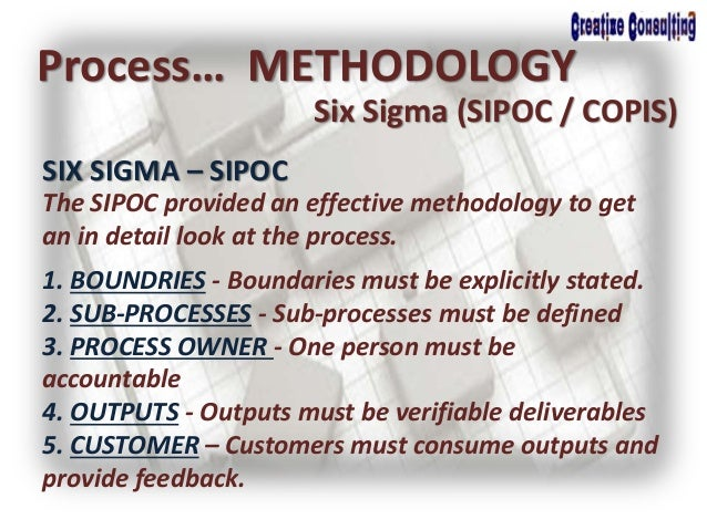 Process… METHODOLOGY Six Sigma (SIPOC / COPIS) SIX SIGMA – SIPOC The SIPOC provided an effective methodology to get an in ...