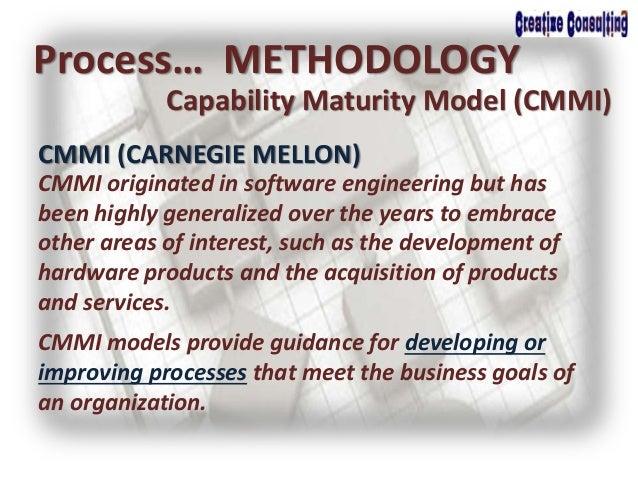 Process… METHODOLOGY Capability Maturity Model (CMMI) CMMI (CARNEGIE MELLON) CMMI originated in software engineering but h...