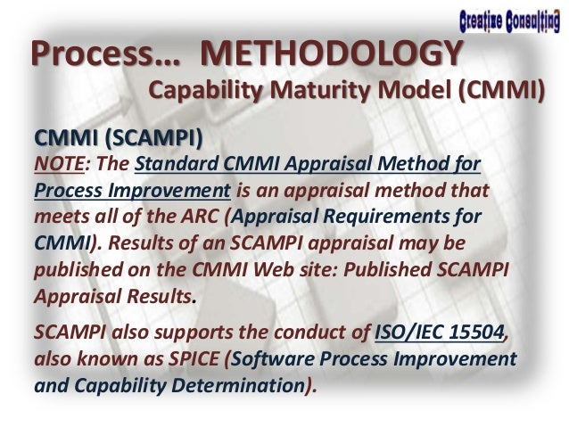 Process… METHODOLOGY Capability Maturity Model (CMMI) CMMI (SCAMPI) NOTE: The Standard CMMI Appraisal Method for Process I...