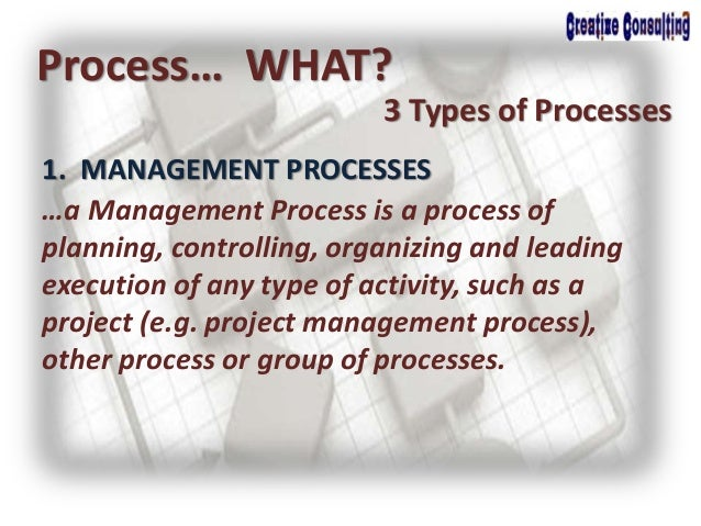 1. MANAGEMENT PROCESSES Process… WHAT? 3 Types of Processes …a Management Process is a process of planning, controlling, o...
