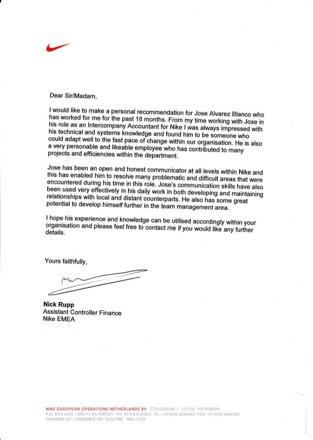 reference letter nike