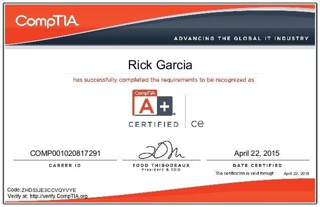comptia certificate ce slideshare upcoming technician